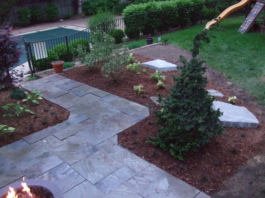 Blue Flagstone Walkway with plants