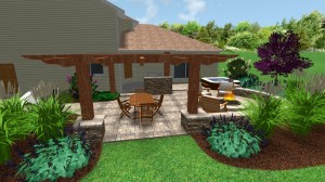 Outdoor dining area with pergula