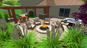 Rounded firepit with patio