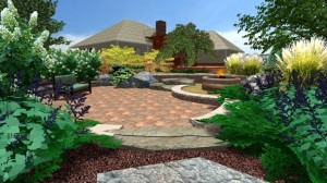 Well cared for landscape with brick paver patio.