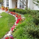 Clubhouse entrance flower beds