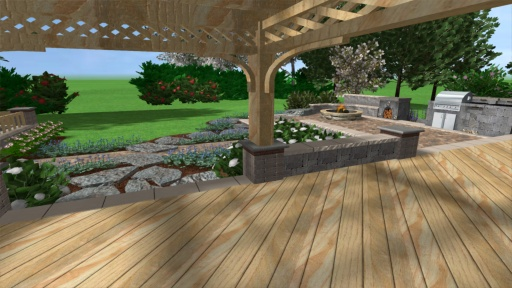 Deck with Gazebo and Outdoor Kitchen with Fireplace.