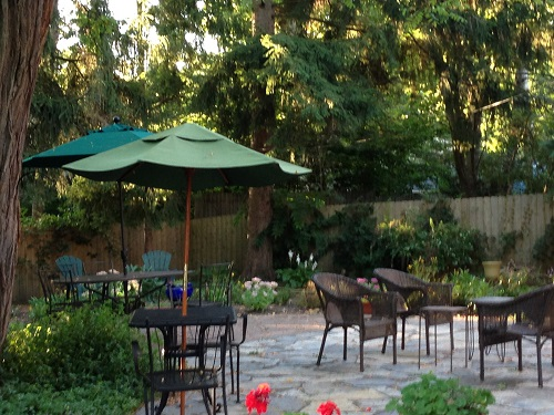 Flagstone patio with multiple seating