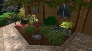 Front paver walkway with garden and lighting.