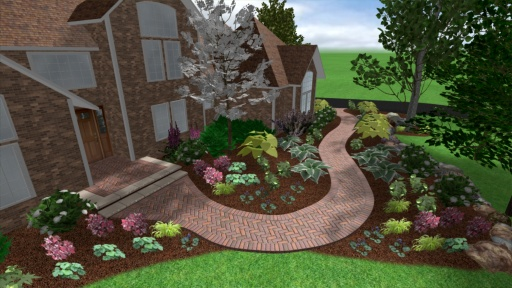 Paver Front Walkway With Gardens