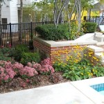 Pool area flower beds