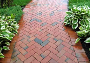 red and black pavers