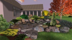 Boulder Retaining Wall with Patio