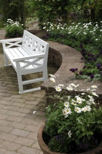 White bench and flower box
