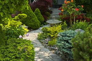 Natural flagstone path landscaping in home garden