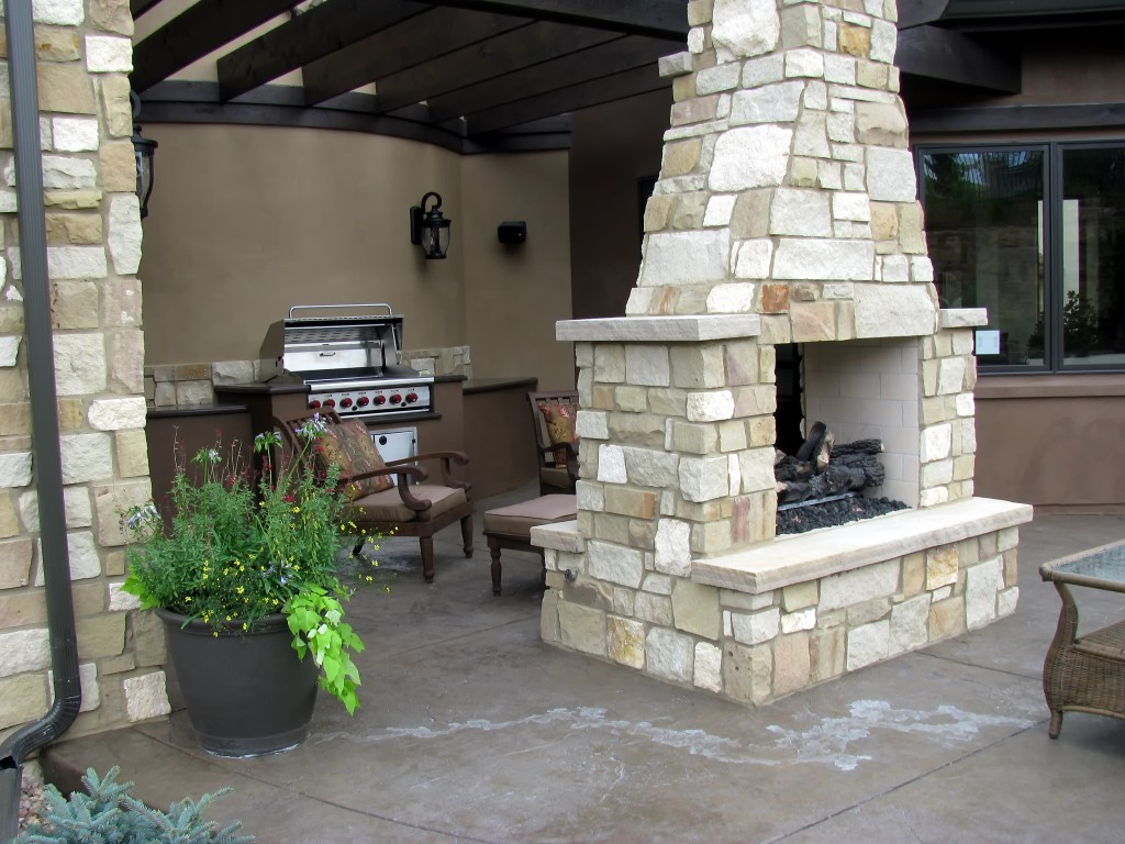 Patio Fireplace With Custom Chimney
