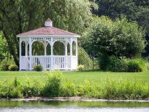gazebo by pond