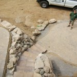 Paver Patio and Steps with Boulder Wall