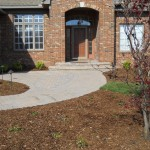 Curved front walkway for bench