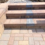 Detail of multi-colored paver steps