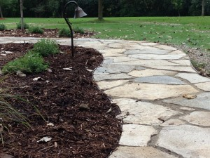 Curved flagstone front walkway
