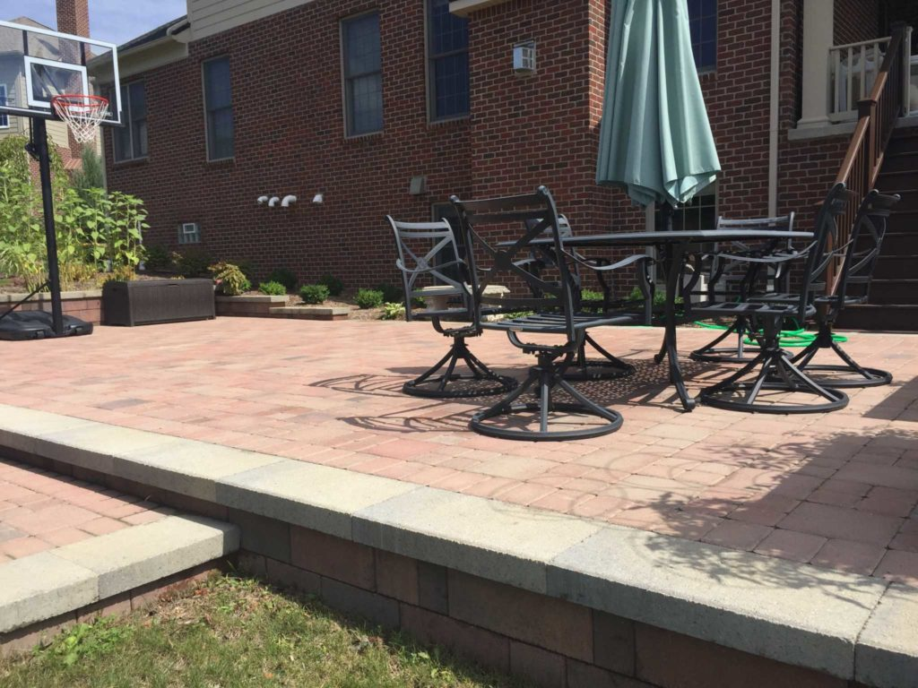 Raised patio with dining