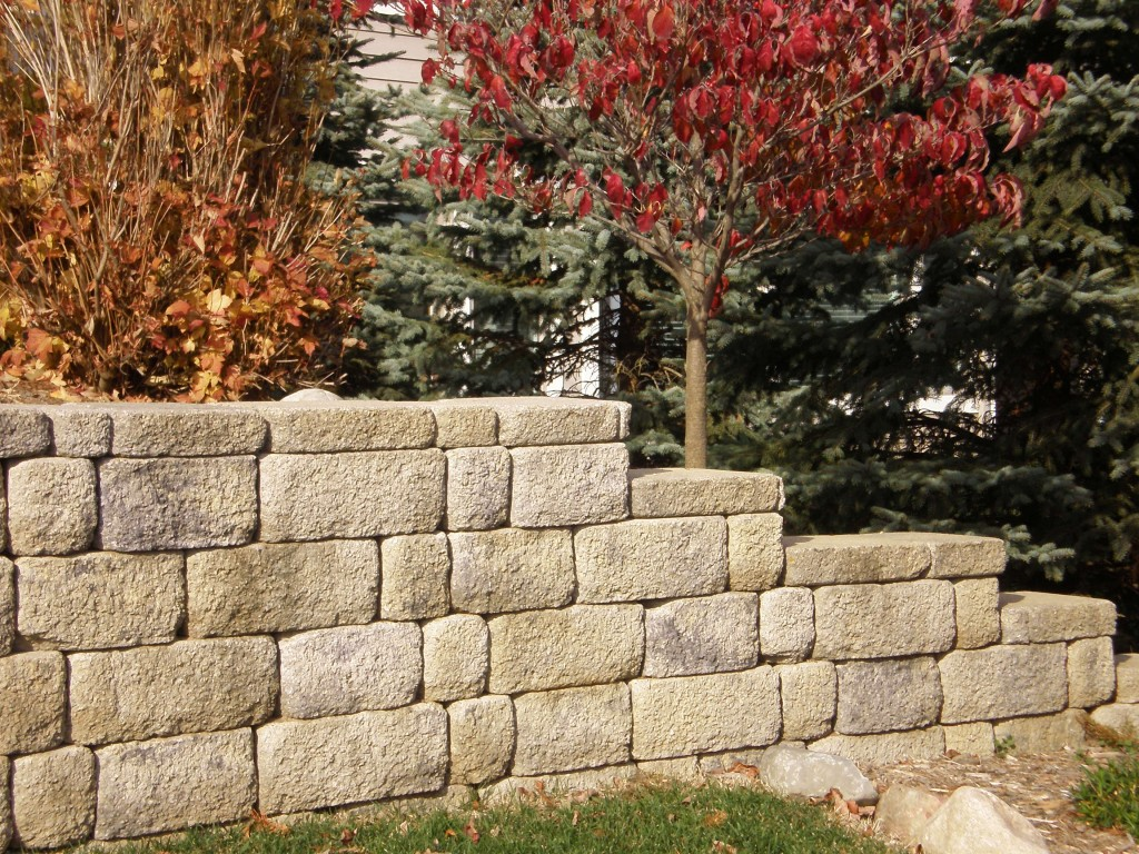 Retaining wall along gardens