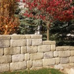 Retaining wall along gardens