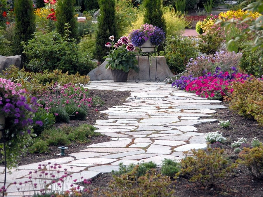 Paver Path With Lush Florals