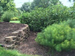 Wall within raised bed