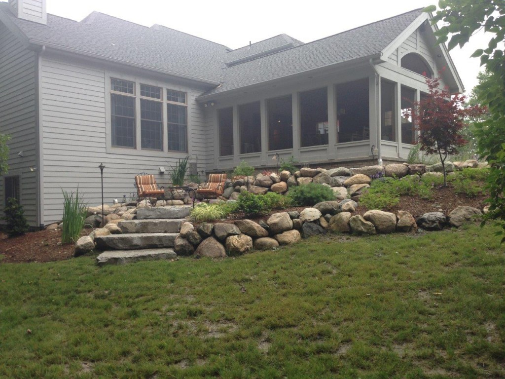Raised Boulder Stairs and Sitting Area