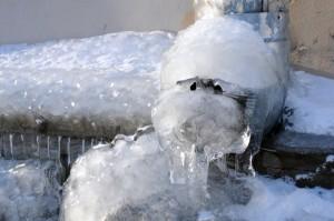frozen downspouts