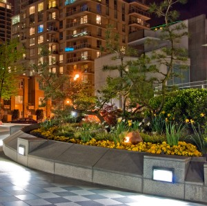 Outdoor landscape garden at night in Downtown of Vancouver, Cana