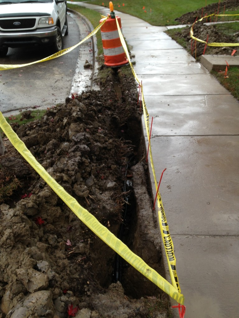 Sidewalk Boaring for Drainage Solution