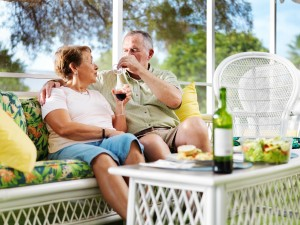 Couple enjoying outdoor patio