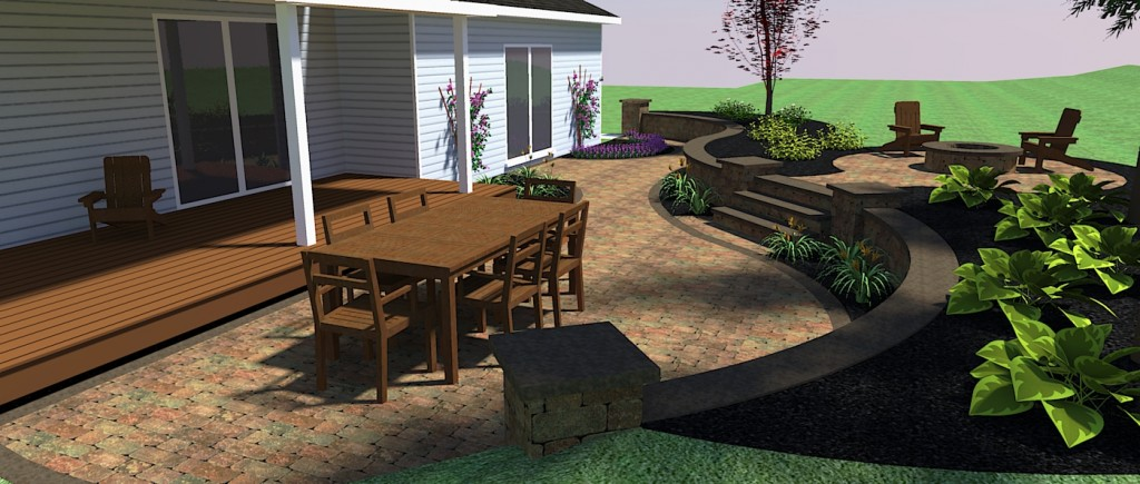 Side View Of Paver Patio with Raised Fire Pit Area