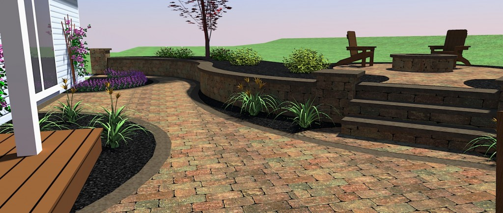 Paver Walkway Design With Retaining Wall