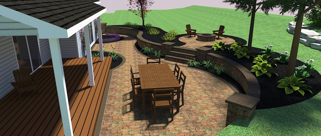 Patio Paver Design Back Of House With Raised Fire Pit Area