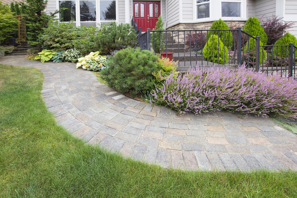 Front Yard Garden Curve Brick Paver Path with Green Grass Lawn Flowering Plants Trees and Shrubs