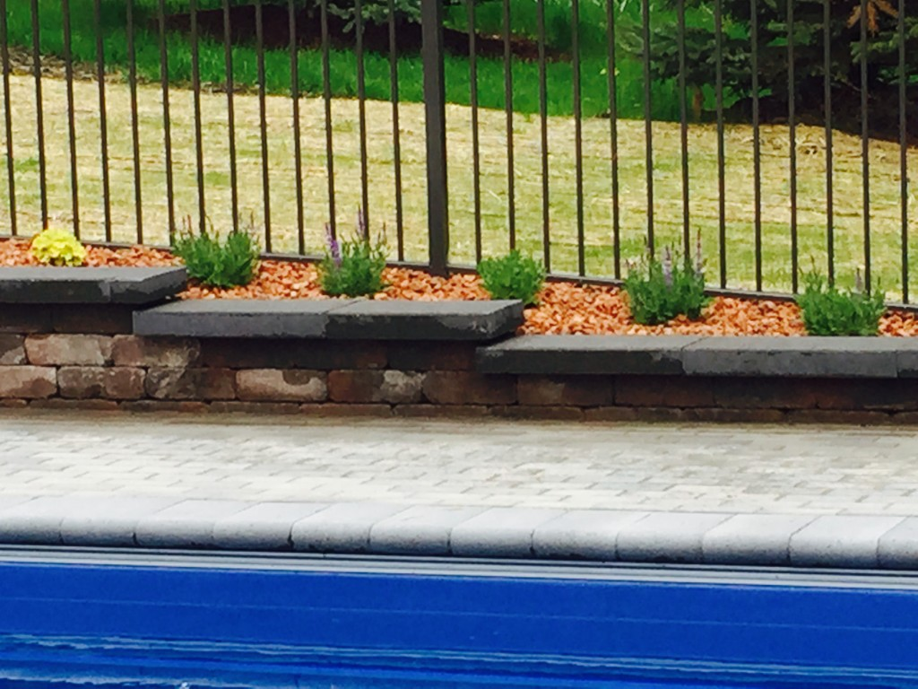 Pool Deck with Stone Benches
