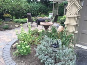 pavers, hardscape, patio, small backyard, small spaces, landscape design, fire pit, backyard oasis