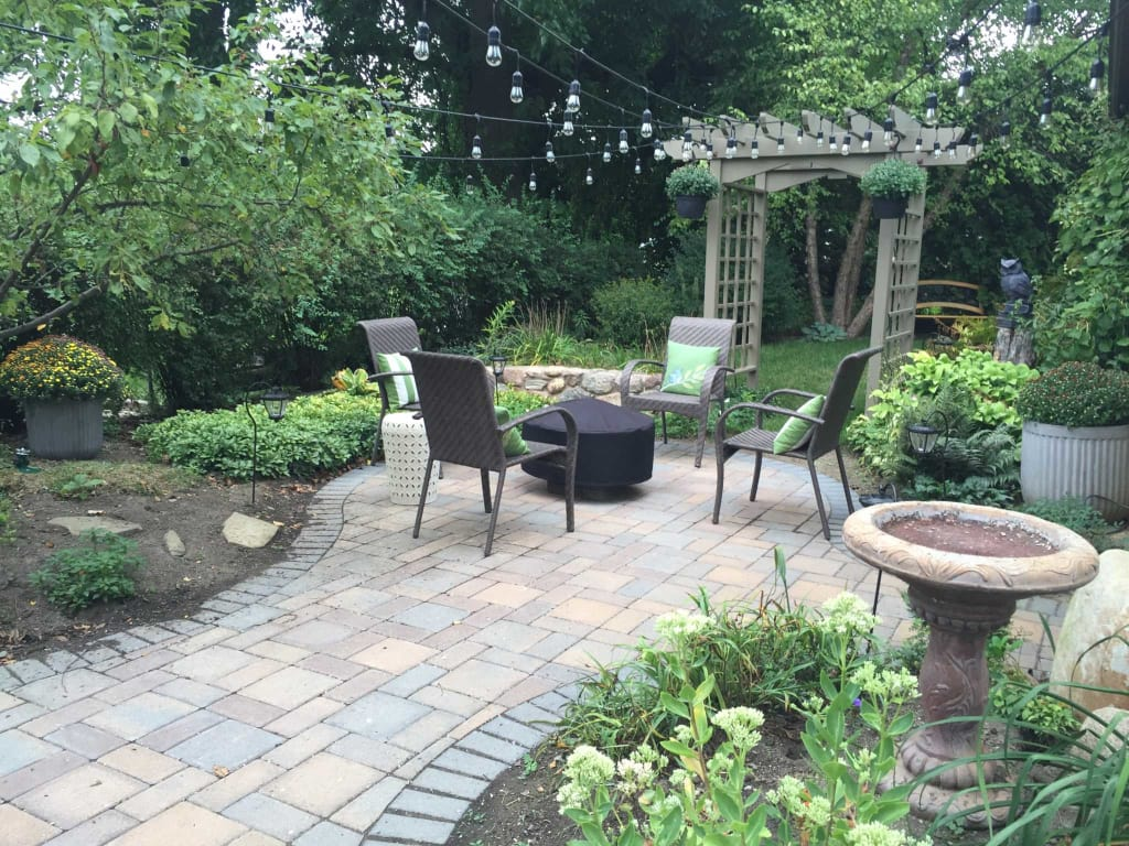 Pavers Hardscape Patio Small Backyard Es Landscape Design Fire
