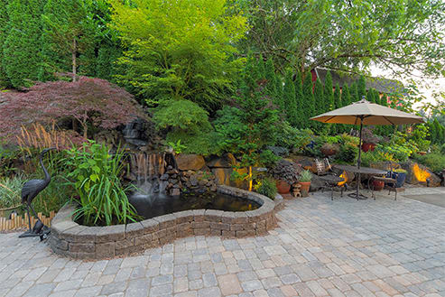 Landscape with Small Retaining Wall