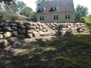 Retaining Wall with Boulders - Twin Oaks Landscape