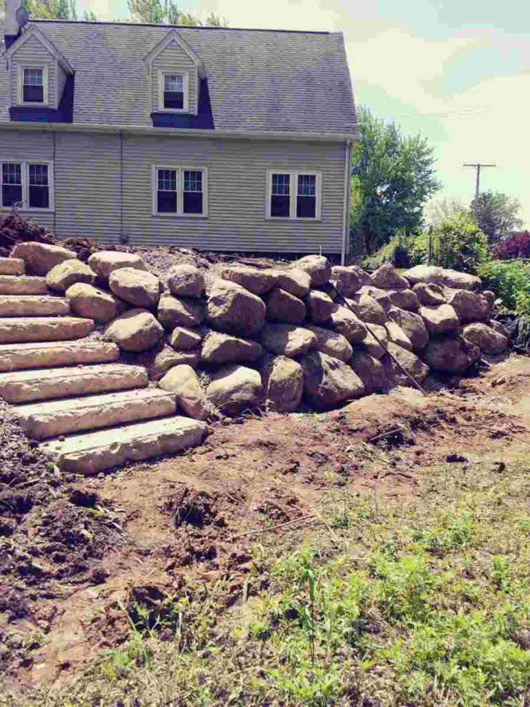 Stone Boulder Retaining Wall