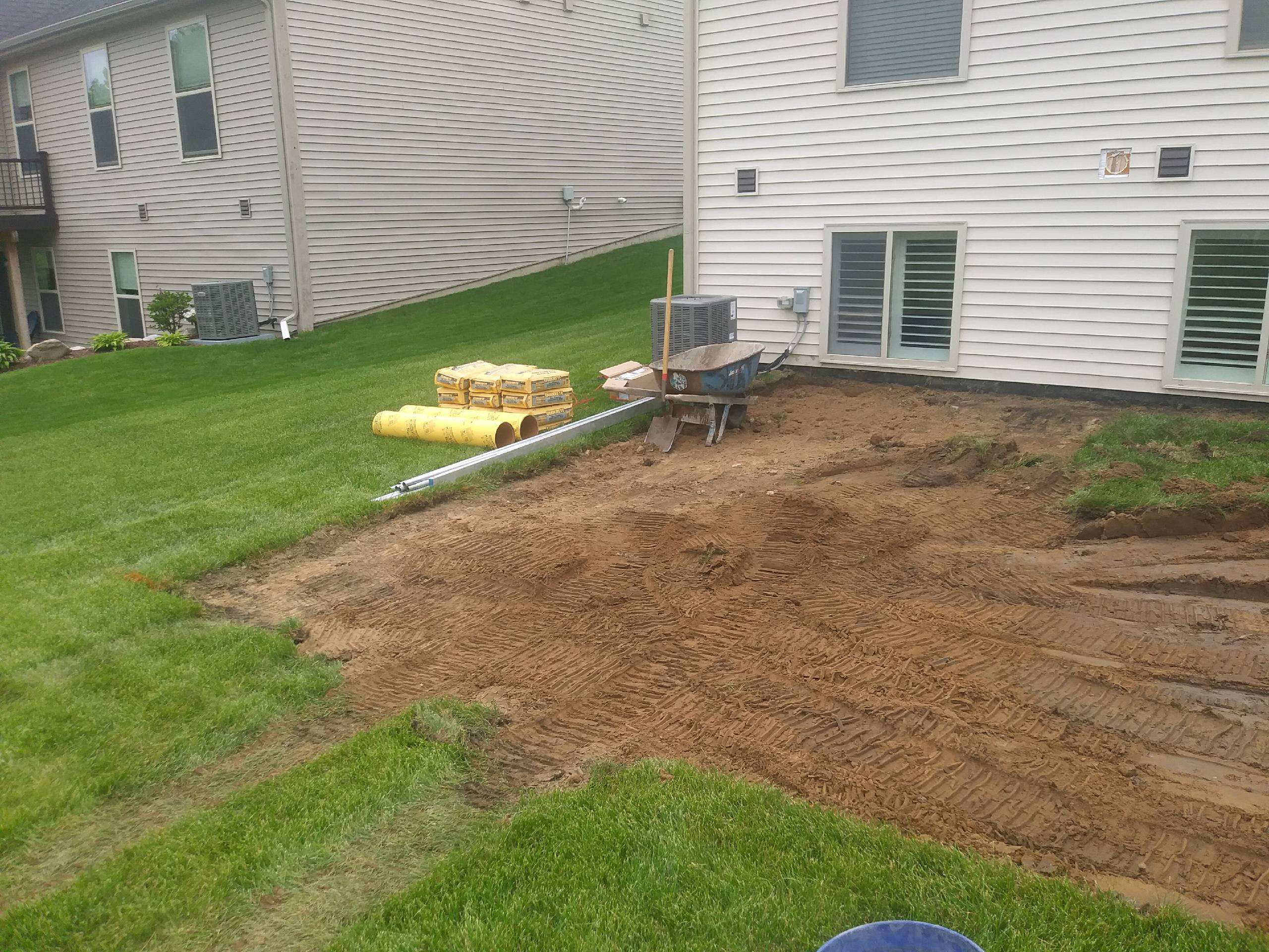 Backyard with new landscape installation.