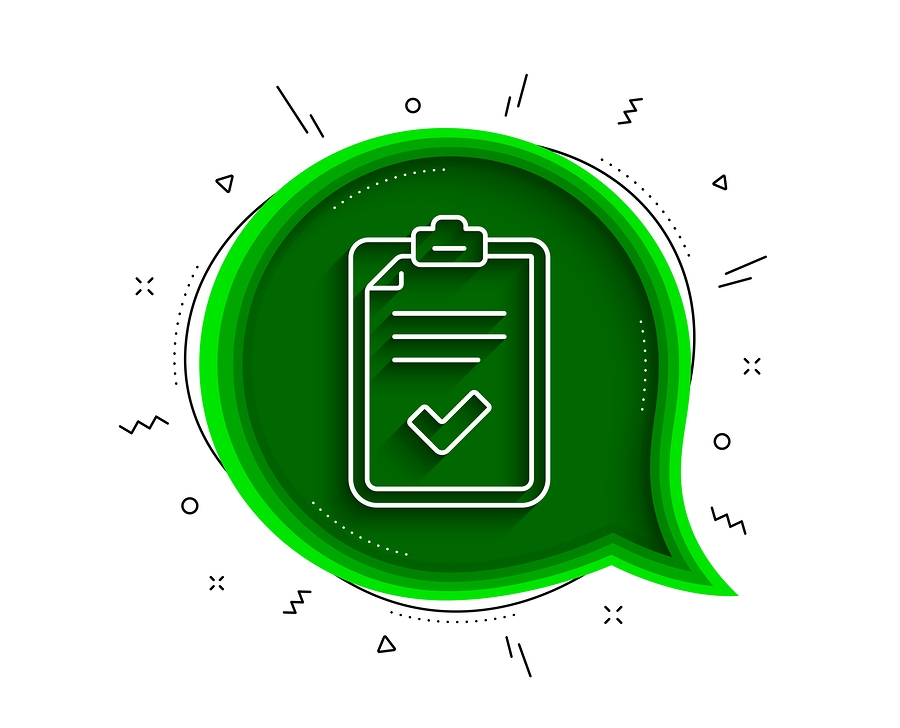 Checklist icon in a green speech bubble.