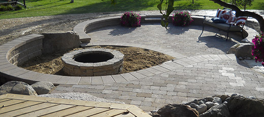 Brick Pavers With Fire Pit Area