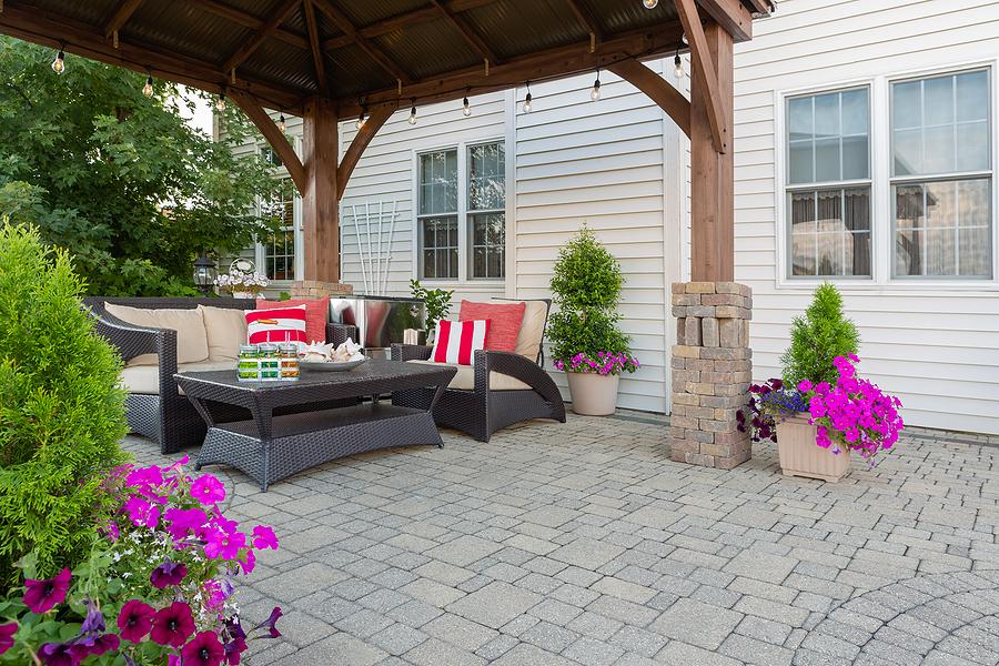 Beautiful paver patio with a pergola.