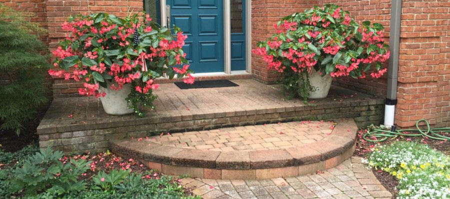 Brick Front Porch and walkway installed by Twin Oaks Landscape in Dexter MI