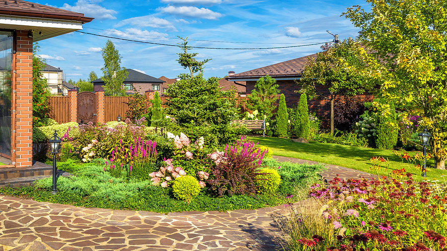 Beautiful well manicured landscape on a residential property.