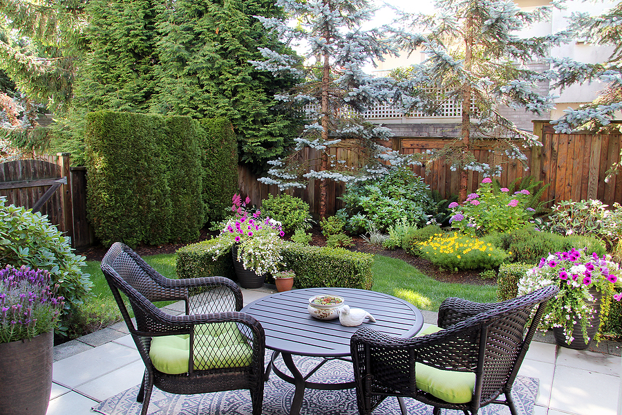 Beautiful backyard patio with vibrant landscape and functional hardscapes.